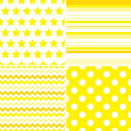 Set of four seamless illustrated yellow and white patterns Çizim