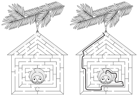 Easy bird house maze for younger kids with a solution in black and white Stock Illustratie