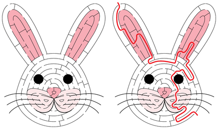 Eenvoudig konijnenlabyrint voor jongere kinderen met een oplossing Stockfoto - 97382003