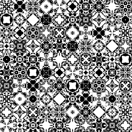 Seamless pattern illustration in traditional style - like Portuguese tiles in black and white