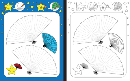 Preschool worksheet for practicing fine motor skills - tracing dashed lines of hand fan Archivio Fotografico - 97651088