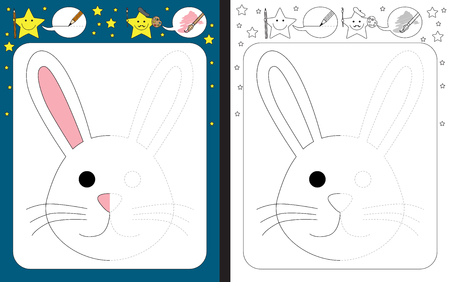 Preschool worksheet for practicing fine motor skills - tracing dashed lines - finish the illustration of a bunny Çizim