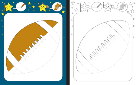 Preschool worksheet for practicing fine motor skills - tracing dashed lines - finish the illustration of american fotball ball