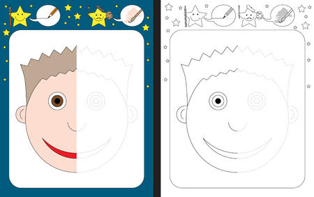 Preschool worksheet for practicing fine motor skills - tracing dashed lines - finish the illustration of a boy Vectores