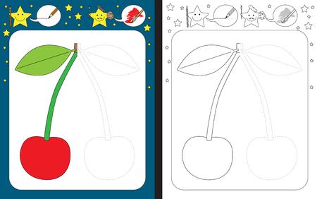 Hoja de trabajo preescolar para practicar habilidades motoras finas - trazar líneas discontinuas - terminar la ilustración de una cereza Ilustración de vector