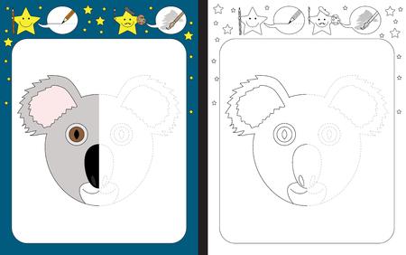 Preschool worksheet for practicing fine motor skills - tracing dashed lines - finish the illustration of a koala Illusztráció