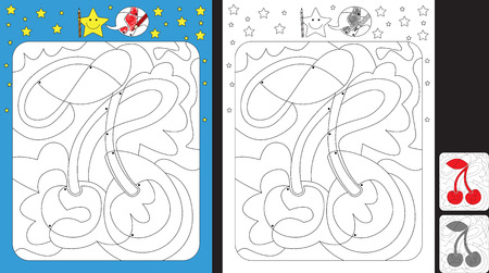 Worksheet for practicing fine motor skills - color only fields with dot - finish the illustration of a cherry