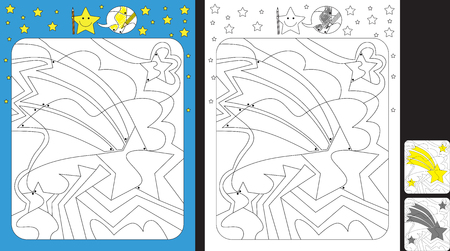 Worksheet for practicing fine motor skills - color only fields with dot - finish the illustration of a shooting star Illusztráció