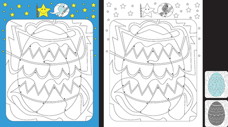 Worksheet for practicing fine motor skills - color only fields with dot - finish the illustration of an Easter egg