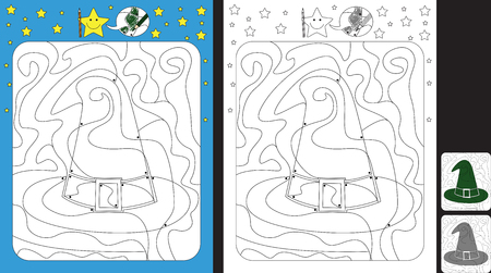 Worksheet for practicing fine motor skills - color only fields with dot - finish the illustration of a witch hat Illusztráció