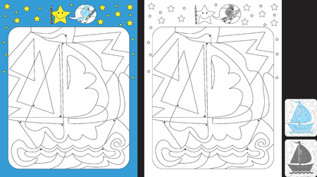 Worksheet for practicing fine motor skills - color only fields with dot - finish the illustration of boat Çizim