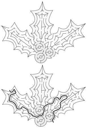 Easy holly maze for younger kids with a solution in black and white color.