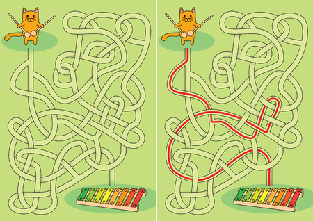 Little cat maze for kids with a solution