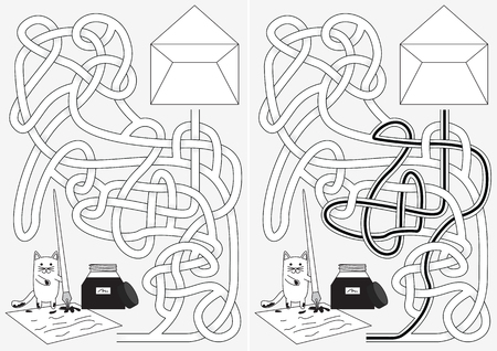 Little cat writting letter net maze for kids with a solution in black and white Illustration