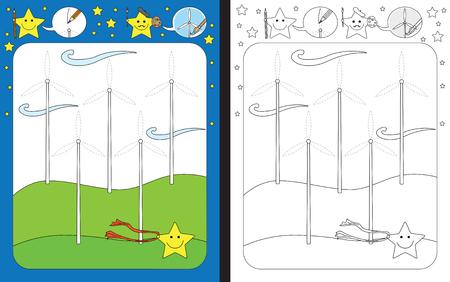 Preschool worksheet for practicing fine motor skills - tracing dashed lines of wind turbines