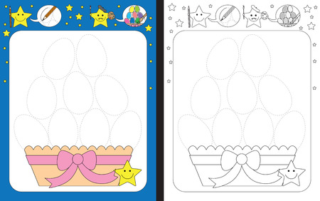 Preschool worksheet for practicing fine motor skills - tracing dashed lines of Easter eggs Vettoriali