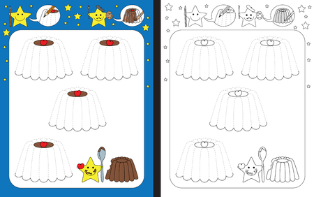 Preschool worksheet for practicing fine motor skills - tracing dashed lines of chocolate puddings