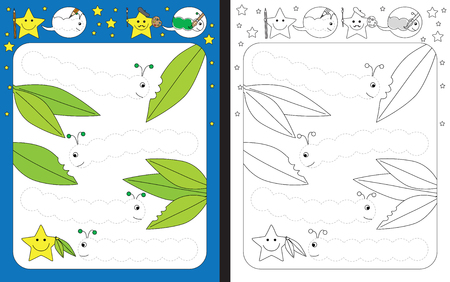 Preschool worksheet for practicing fine motor skills - tracing dashed lines of caterpillars Çizim