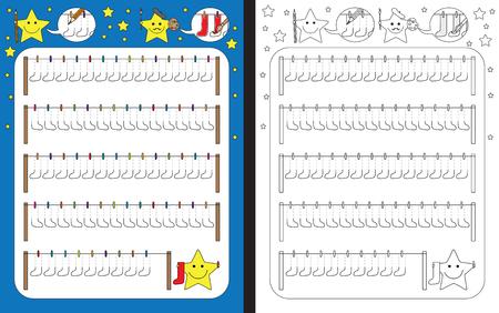 Preschool worksheet for practicing fine motor skills - tracing dashed lines of socks