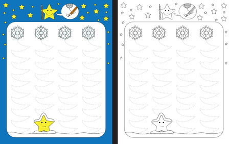 Preschool worksheet for practicing fine motor skills - tracing dashed lines of falling snowflakes trails