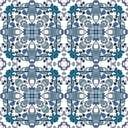 Seamless pattern illustration in traditional style - like Portuguese tiles Çizim