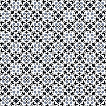 Seamless pattern illustration in traditional style - like Portuguese tiles in black and white.