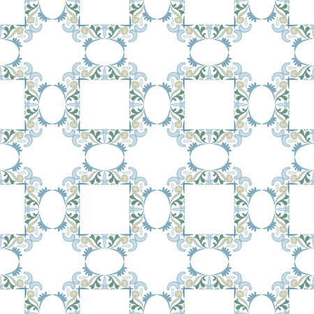 A Seamless pattern illustration in traditional style - like Portuguese tiles