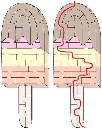 Makkelijk ijs op een stokdoolhof voor jongere kinderen met een oplossing Stockfoto - 98878271