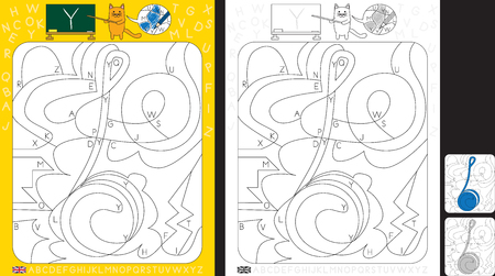 Worksheet for practicing letter recognition and fine motor skills - color only fields with letter Y - finish the illustration of an yo-yo