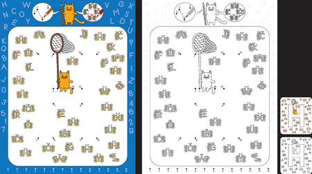 Preschool worksheet for practicing fine motor skills and recognising numbers and letters - connect the dots by number - circle all butterflies with letter H