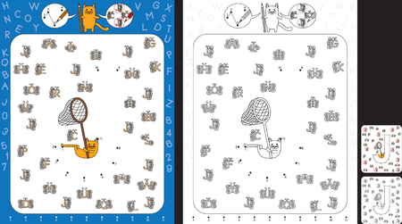 Preschool worksheet for practicing fine motor skills and recognising numbers and letters - connect the dots by number - circle all butterflies with letter J Illusztráció