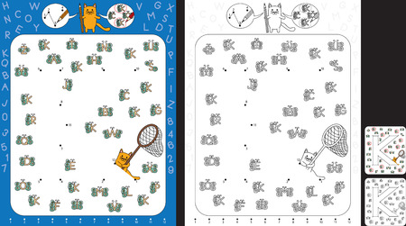 Preschool worksheet for practicing fine motor skills and recognising numbers and letters - connect the dots by number - circle all butterflies with letter K Illusztráció