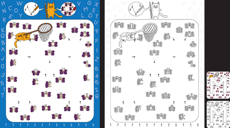 Preschool worksheet for practicing fine motor skills and recognising numbers and letters - connect the dots by number - circle all butterflies with letter M