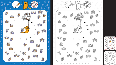 Preschool worksheet for practicing fine motor skills and recognising numbers and letters - connect the dots by number - circle all butterflies with letter P Ilustração