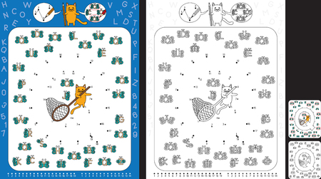 Preschool worksheet for practicing fine motor skills and recognising numbers and letters - connect the dots by number - circle all butterflies with letter Q