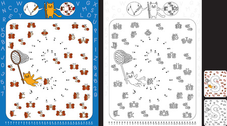 Preschool worksheet for practicing fine motor skills and recognising numbers and letters - connect the dots by number - circle all butterflies with letter S