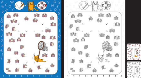 Preschool worksheet for practicing fine motor skills and recognising numbers and letters - connect the dots by number - circle all butterflies with letter T Stock fotó - 99166559