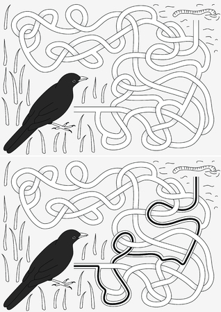 Blackbird maze for kids with a solution in black and white