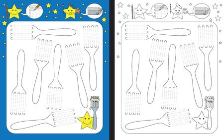 Preschool werkblad voor het oefenen van fijne motoriek - het volgen van gestippelde vorkenlijnen