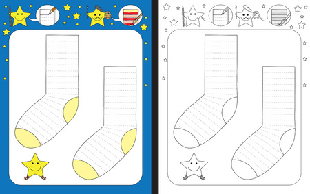 Preschool worksheet for practicing fine motor skills - tracing dashed lines of stripes on socks