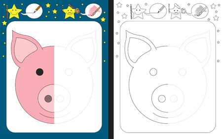 Preschool worksheet for practicing fine motor skills - tracing dashed lines - finish the illustration of a pig