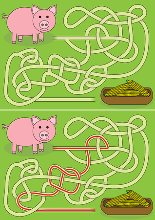 Pig maze for kids with a solution vector illustration. Stock Illustratie