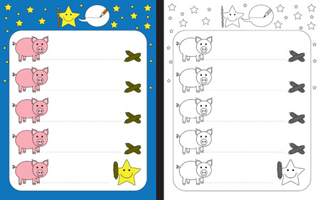 Preschool worksheet for practicing fine motor skills - tracing dashed lines from pigs to corn.