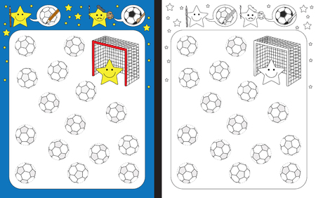 Preschool worksheet for practicing fine motor skills - tracing dashed lines of soccer balls. Archivio Fotografico - 100404640