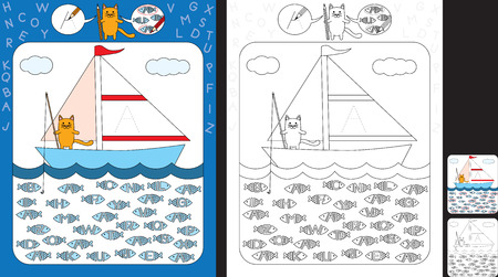Preschool worksheet for practicing fine motor skills and recognizing letters - trace the letter on the sail - circle all fishes with letter A Illusztráció