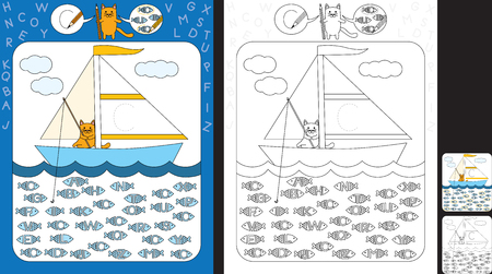 Preschool worksheet for practicing fine motor skills and recognizing letters - trace the letter on the sail - circle all fishes with letter C Illusztráció