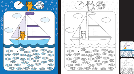 Preschool worksheet for practicing fine motor skills and recognizing letters - trace the letter on the sail - circle all fishes with letter F