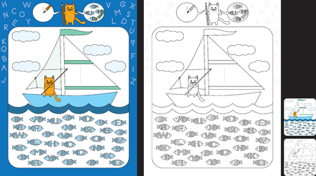 Preschool worksheet for practicing fine motor skills and recognizing letters - trace the letter on the sail - circle all fishes with letter I