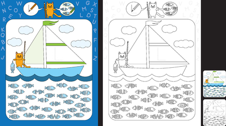 Preschool worksheet for practicing fine motor skills and recognizing letters - trace the letter on the sail - circle all fishes with letter L