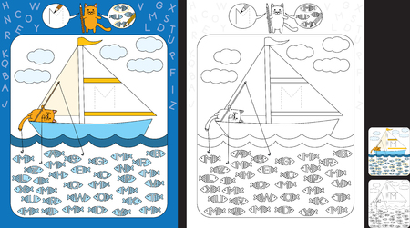 Preschool worksheet for practicing fine motor skills and recognizing letters - trace the letter on the sail - circle all fishes with letter M Ilustração